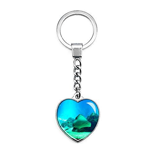 Hqiyaols Keychain Portugal Aquarium Lissabon Schlüsselkette Kreative Doppelseitige Herz-Kristall-Schlüsselkette Tourist Souvenir Metal
