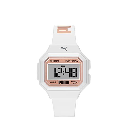 PUMA Women's Mini Remix Polycarbonate Digital Watch with Polyurethane Strap, White, 16 (Model: P1056)