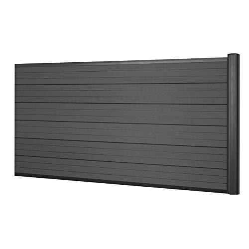 Mendler WPC-Sichtschutz Sarthe, Windschutz Zaun, Alu-Pfosten - Erweiterungselement niedrig, 1,85m anthrazit