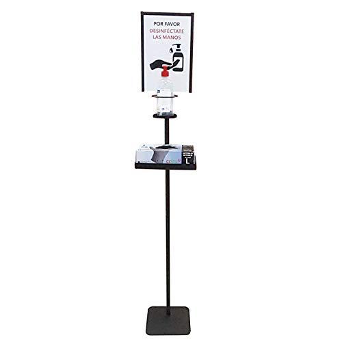 Dispensador de Pie Gel Hidroalcohólico Desinfectante de Manos para Comercios y Oficinas. 146cm. Incluye Cartela A4 y Bandeja Goteo. Dispensador de Gel Desinfectante Fabricado en España