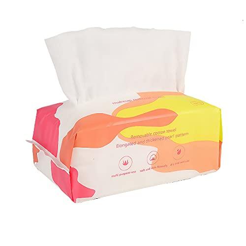 SoloKing Toalla facial Desechable,Toallas Desmaquillantes Algodon,Uso Doble en Seco y Húmedo,Toalla Cara Limpieza Facial ideal para piel Sensible y Normal, Toalla de Bebé, 80pcs por Bolsa