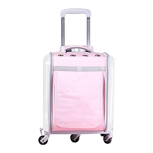Bolsa De Viaje For Mascotas, Maleta con Ruedas, Maleta PortáTil Transpirable, con Doble Hombro Korah Dog Trolley,Gris