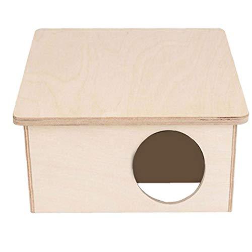 YepYes Hamster Casa De Madera De Abedul Cámara Escondite Hábitat Hut Cabina Jaula De Madera para Pequeños Animales Domésticos Hámster Ratones Los Jerbos Ratón 2 Cámaras