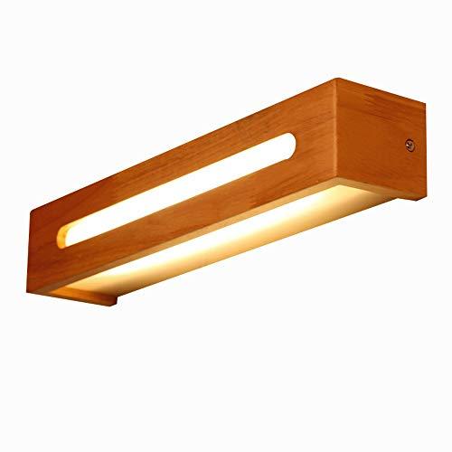 Lampe de chevet LED Applique murale en bois de chêne Chêne Nordic Miroir en bois massif, applique murale, montage mural, appareil d'éclairage intérieur for balcon Restaurant [Classe énergétique A ++]