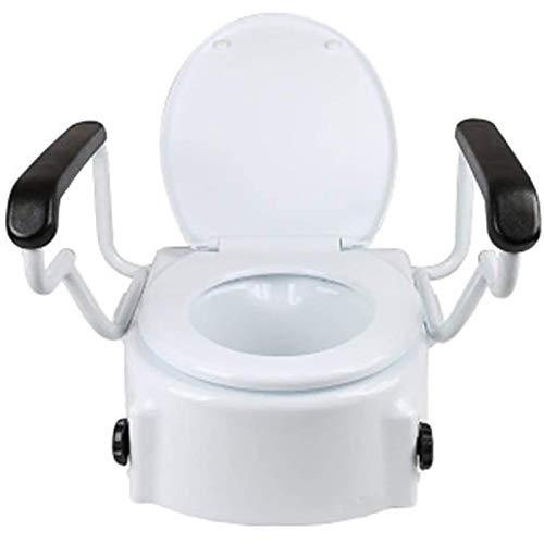 Ckssyao Gabinetto Riser Sedile per Gli Anziani, Elevatore per WC ad Altezza Regolabile per Anziani, Sedili WC rialzati con coperchi e braccioli per disabili