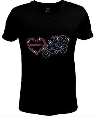 Just Bad Ass T Shirts Bling Rhinestone Pink Cowgirl Heart T Shirt COW-119-SC (M)