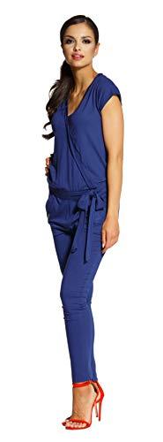 Lemoniade stylischer Jumpsuit Made in EU mit V-Ausschnitt und raffinierten Details, Navy Kurzarm, Gr. S (34/36)