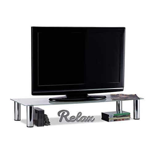 Relaxdays Tavolino TV Vetro, Gambe Metallo Cromato, Mobile Porta...