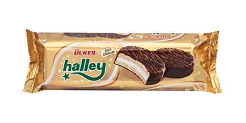 ÜLKER Halley - Vollmilchschokoladenüberzogener Sandwich-Keks mit schwarzer Maulbeere 33,7G x 8 x 12 (12 x 8 Packung) (Vollmilchschokolade, 30 GR)