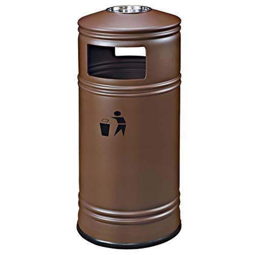DUOER Outdoor Mülltonnen Außen Außen Große Kapazität Mülleimer Hotel Restaurant Band Aschenbecher Einkaufszentrum Gemeinschaftspark Kreative Trash Outdoor Abfalleimer Wertstofftonnen (Color : Brown)
