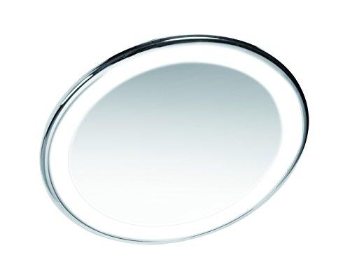Gerson Miroir Chromé Grossissant x 10 Lumineux Rechargeable Câble Fourni Ventouse Articulé Diamètre 17 cm