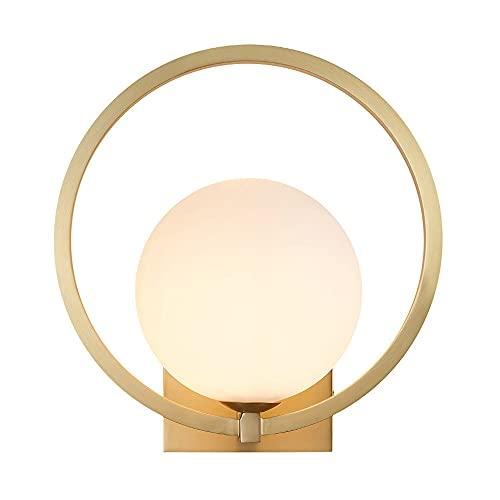 WANQINV Lámparas de pared de pantalla de cristal redondas modernas de lujo ligero Aplique de pared LED G9 H65 Lámpara de pared de cuerpo de lámpara de cobre Lámpara de pared interior Lámparas de pared