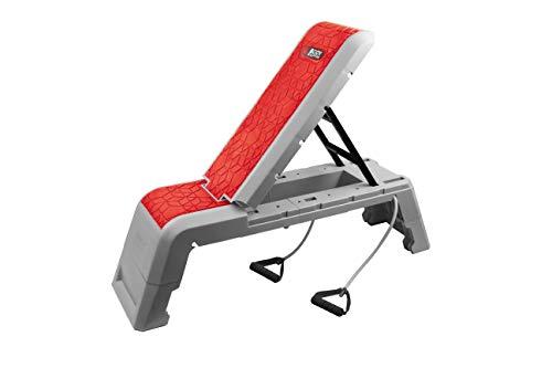 Body Sculpture 3in1 Multifunktion Workout Bench höhenverstellbare Bank Steppbrett Trainingsbank Schrägbank verstellbare Rückenlehne mit Fitnessbändern