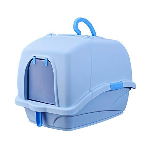 Maisons de toilette pour chats bac à litière de Chat, entièrement Clos Pot de Toilette Chat déodorant Anti-éclaboussures, Toilette Chat fermé, Fournitures de Chat. (Color : Blue)
