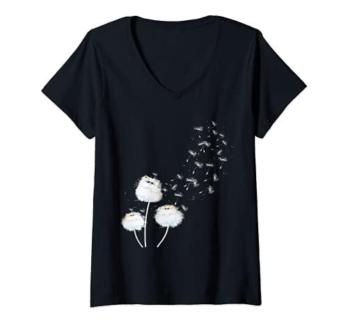 Femme Fleur de pissenlit de chat T-Shirt avec Col en V