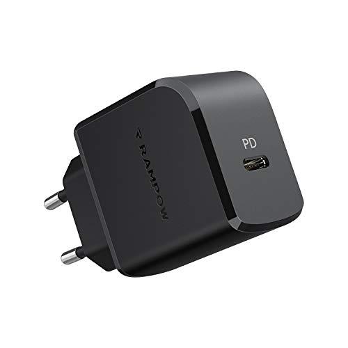 RAMPOW Cargador USB C, 18W Carga Rápida con Power Delivery 3.0 y QC 3.0 Cargador Móvil Rápido para iPhone 12 12 Pro 12 Mini 11 11 Pro XS XS MAX X XR, Samsung S10 S9, Huawei, Xiaomi y más