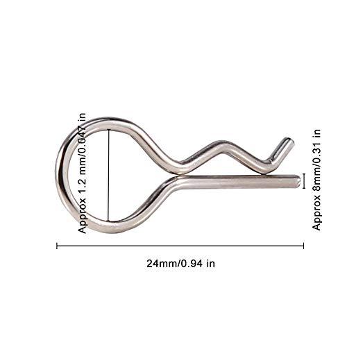 Dilwe 100 stücke RC Körper Shell Pin, 1Edelstahl Körper Shell Clip für Redcat HPI 1/10 Modell