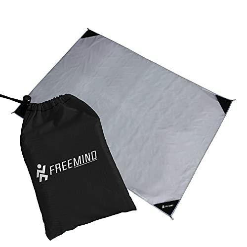 freemind Outdoor Picknickdecke - ultraleichte Nylon Stranddecke - wasserabweisend, kompakt, sandfrei - Mini Pocket Blanket - inkl. Tasche, 4 Heringen, Karabiner (grau-schwarz)