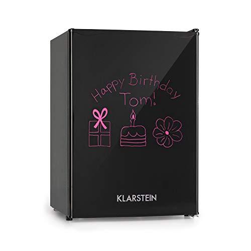 Klarstein Spitzbergen M Frigorífico - 70 litros, Refrigerador de 62 L, Congelador de 8 L, Termostato de 5 niveles, Eficiencia energética de clase A+, ZestfulART Design, Incluye rotulador, Negro