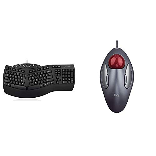 Perixx Periboard-512 Ergonomic Split Keyboard & Logitech Trackman Marble Trackball Mouse – Wired USB Ergonomic Mouse for Computers, with 4 Programmable Buttons, Dark Gray