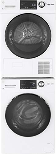 GE GFW148SSMWW 24 Inch Compact Front Load Washer with 2.5 cu. ft. Capacity, 14 Wash Cycles, 1400 RPM, Steam Cycle, Plugs into Dryer or Wall in White