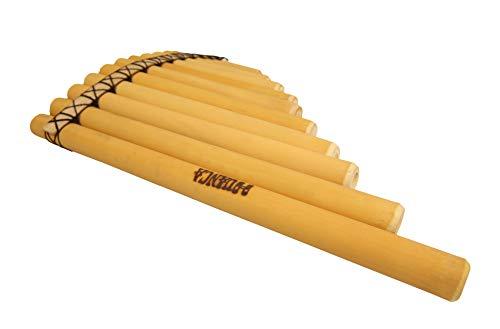 Echt Peru - Panflöte, Musikinstrument, 13 Rohre, für Fortgeschrittene, Indianer Peru, Handgefertigt, Bambus, natur