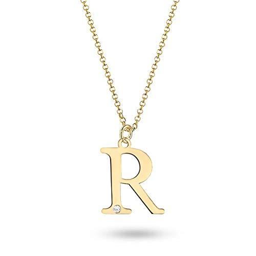 Colgante letra Zlocisto para mujer con cadena, letra R W 10 x H 10 mm, con diamantes talla brillante 0,005 ct H / Si, cadena 45 cm (ajustable a 42 cm), muestra de oro amarillo 585 1,06 g