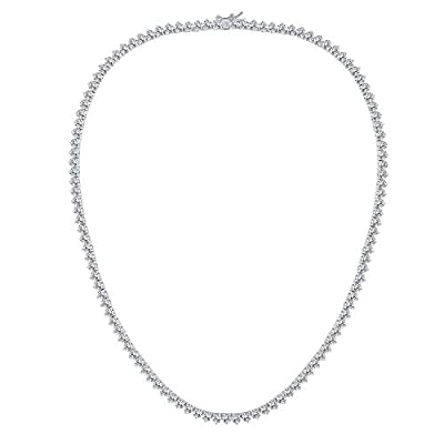 GMESME 18K White Gold Plated Cubic Zirconia Classic Tennis Necklace 18 Inch