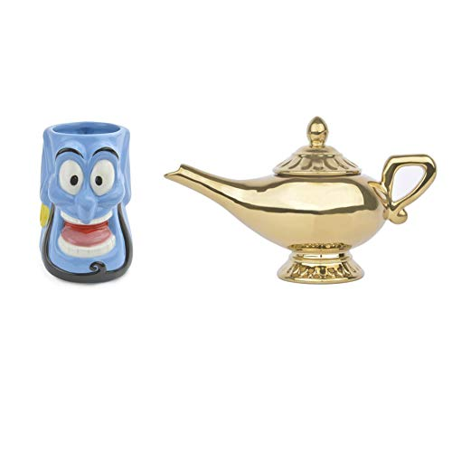 Ideal casa Set de Tetera Lámpara de Aladdín + Taza Genio Original de Disney, Cerámica Pintada a Mano