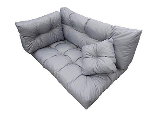 EIN Satz von 4 Kissen für Standardpaletten und passt für die meisten Palettensätze Dieser Art. Hergestellt aus hochwertigen Materialien/Baumwolle + granuliertem Polyurethanschaum. (Grau)