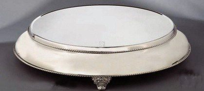 "Elegance Silver 89892 Silver Plated Round Cake Stand with 22"" Base, 18"""