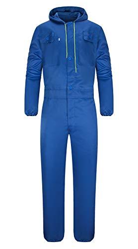 Yukirtiq Uomo Tuta da Lavoro con Elastico ai Polsi Multitasca con Cappuccio Policotone Salopette Tuta Tute Uniforme con Tasche (L, Blu Reale)