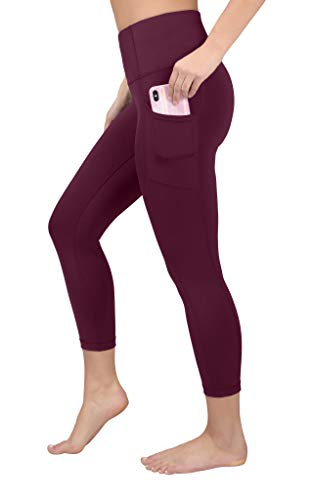 90 Degree By Reflex Yoga Capris - Yoga Capris for Women - Hidden Pocket - Rubine Red - Medium