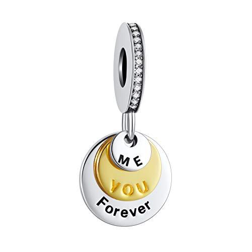 Abalorio de plata de ley 925 con texto en inglés «You & Me Forever Together», compatible con pulseras y otras pulseras europeas