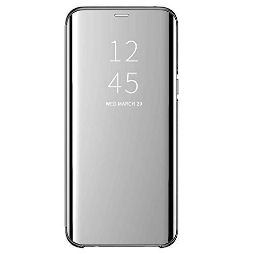 Riyeri Funda para Samsung Galaxy S10 Plus Suave + Duro Carcasa Espejo Mirror Flip Caso Ultra Delgada Shock Caja del Galaxie S10 Plus Teléfono Translucent Window View (Samsung Galaxy S10+, Plata)