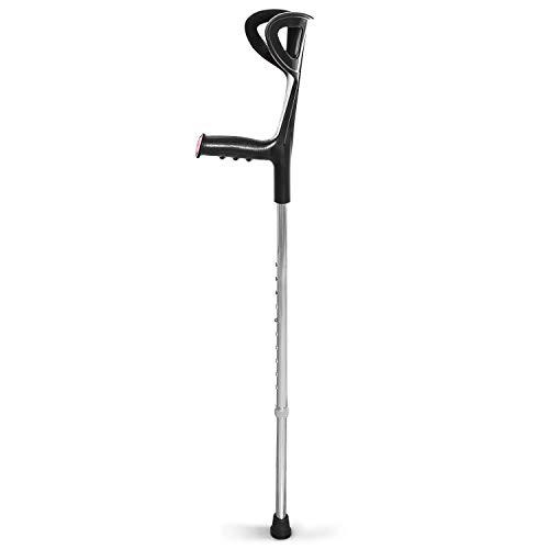 AIESI® Verstelbare Orthopedische Kruk op de voorarm zwart licht geanodiseerd aluminium # Canadees stokken # 24 maanden Italië Garantie