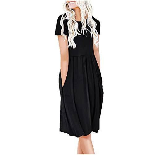AMhomely Vestidos de mujer elegantes para señoras casuales de manga corta con bolsillos de cuello en O impresos para damas vestido de talla Reino Unido vestidos de noche de trabajo maxi vestido