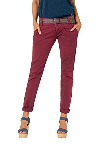 Urban Surface Damen Chino Stoff-Hose mit Flecht-Gürtel red L