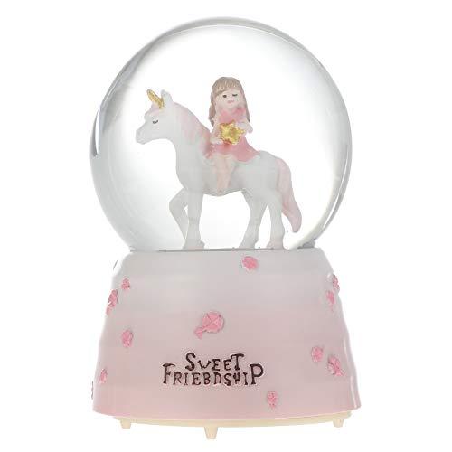 LUOZZY Globos de Neve de Unicórnio para Meninas Adorável Caixa Musical Bola de Cristal Brilhante para Crianças