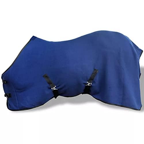 vidaXL Toison avec sursangles 135 cm Bleu Couverture Anti-Boulochage pour Cheval