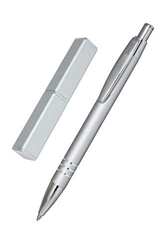 ONLINE Kugelschreiber Graphite, edler Metall-Kugelschreiber, Druckkugelschreiber aus Aluminium, auswechselbare Mine, Schreibfarbe schwarz, Geschenk-Idee, Graphite Silver