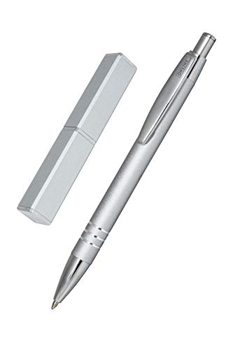 Online 43029 Kugelschreiber Graphite, edler Metall-Kugelschreiber, Druckkugelschreiber aus Aluminium, auswechselbare Mine, Schreibfarbe schwarz, Geschenk-Idee, Graphite Silver