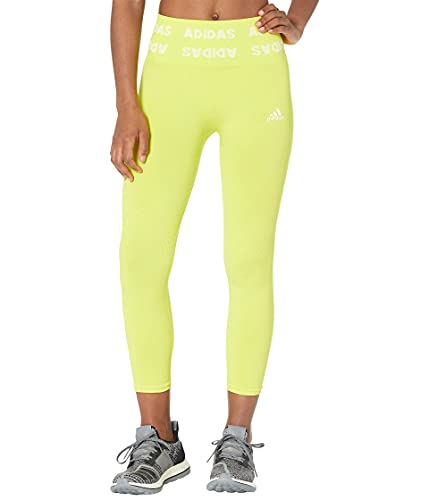 adidas Womens Training Branded Aeroknit 7/8 High Rise Tights Acid Yellow Medium