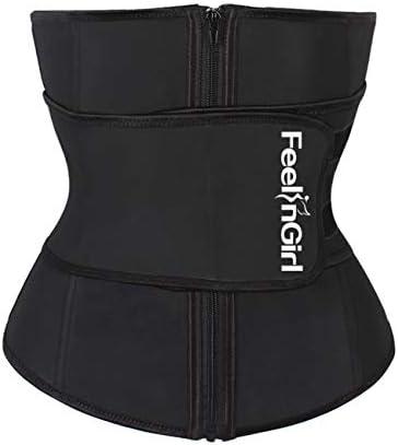 FeelinGirl Women Sweat Latex Waist Trainer Corset Trimmer Belt Body Shaper Slimming Black product image