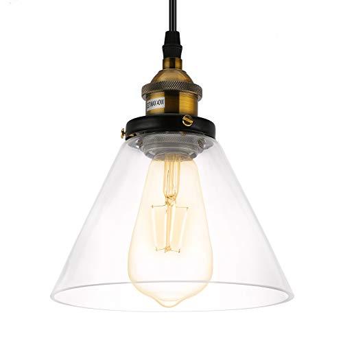 Lovebay Lámpara de Techo Vintage Vidrio Colgante de Luz E27 Industrial de...