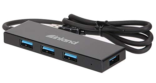 Inland Slim Profile 4 Port USB 3 Hub with 24 inch Cable