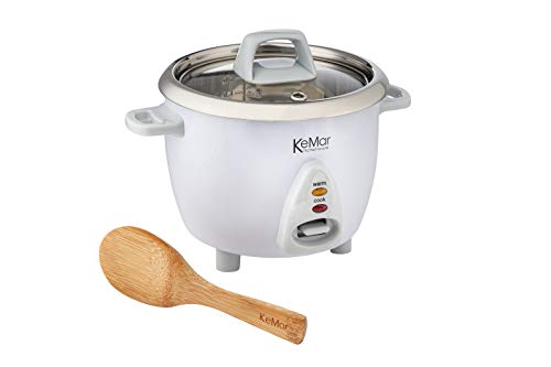 KeMar Kitchenware KRC-100 Reiskocher | Kompakt 0,6L | Edelstahltopf | Glasdeckel | BPA-frei | ohne Aluminium | Bambuslöffel | 300W