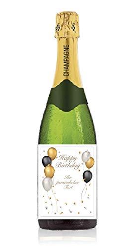 Personalisiertes Etikett für Sektflasche zum Geburtstag, Geschenk, Champagner, Sekt, Flaschenetikett, Aufkleber, selbstklebend, Sticker