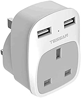 Multi Plug USB Outlet Charger with 2 USB Charging Ports, TESSAN 1 Way Wall Converter Socket (3250W), Power USB Plug Adapte...