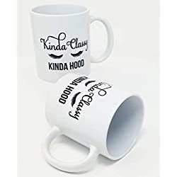 Willcallyou Kinda Sassy Kinda Hood Classy Sassy And A Bit Smart Assy Mug Friend Women Mothers Day Cups 11 Ounces Funny Coffee Mugs Pack of 2